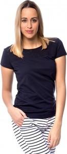 Granatowy t-shirt Heavy Tools w stylu casual z krótkim rękawem