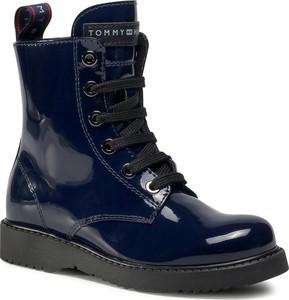 Granatowe buty dziecięce zimowe eobuwie.pl sznurowane