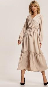 Sukienka Renee midi kopertowa z długim rękawem
