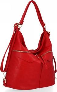 Czerwona torebka Herisson na ramię ze skóry ekologicznej w stylu glamour