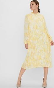 Żółta sukienka WARESHOP z długim rękawem