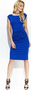 Niebieska sukienka Makadamia dopasowana bez rękawów z okrągłym dekoltem