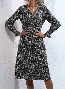 Sukienka Cikelly z długim rękawem z dekoltem w kształcie litery v mini