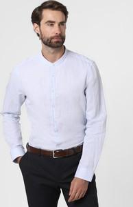 Niebieska koszula Finshley & Harding z bawełny z długim rękawem