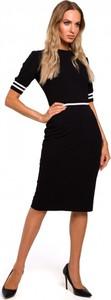 Czarna sukienka MOE z bawełny z krótkim rękawem z okrągłym dekoltem