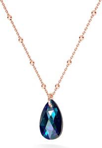 GIORRE ZŁOCONY NASZYJNIK Z KRYSZTAŁEM SWAROVSKIEGO MIGDAŁ : Kolor kryształu SWAROVSKI - Crystal BBL, Kolor pokrycia srebra - Pokrycie Różowym 18K Złotem
