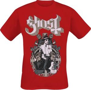 Czerwony t-shirt Emp z bawełny z nadrukiem w młodzieżowym stylu