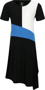 Sukienka DKNY w geometryczne wzory z okrągłym dekoltem z krótkim rękawem