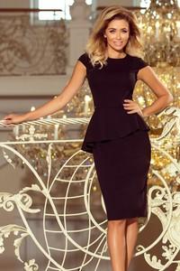 Czarna sukienka NUMOCO z długim rękawem z okrągłym dekoltem baskinka