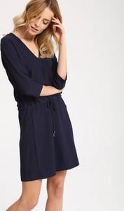 Granatowa sukienka Top Secret z dekoltem w kształcie litery v w stylu casual