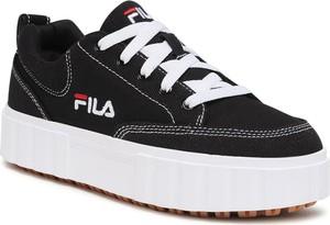 Czarne buty sportowe Fila sznurowane na platformie w sportowym stylu