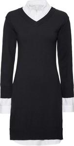 Czarna sukienka bonprix BODYFLIRT boutique z dzianiny z kołnierzykiem z długim rękawem
