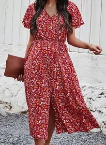 Sukienka Sandbella z krótkim rękawem z dekoltem w kształcie litery v