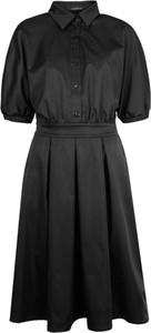 Czarna sukienka Sugarbird z krótkim rękawem z tkaniny midi