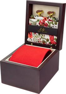 Zestaw ślubny dla mężczyzny klasyczny w kolorze czerwonym: krawat + poszetka + spinki zapakowane w pudełko EM 31