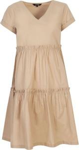 Brązowa sukienka Top Secret z krótkim rękawem z dekoltem w kształcie litery v mini