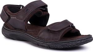 Brązowe buty letnie męskie Josef Seibel na rzepy