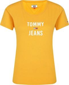 Żółty t-shirt Tommy Jeans z okrągłym dekoltem w stylu casual