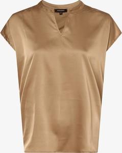 Złoty t-shirt More & More z dżerseju z krótkim rękawem