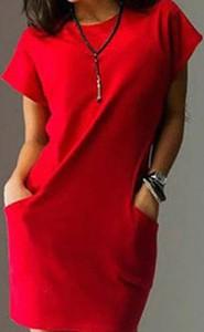 Czerwona sukienka Kendallme mini z dekoltem w kształcie litery v z bawełny