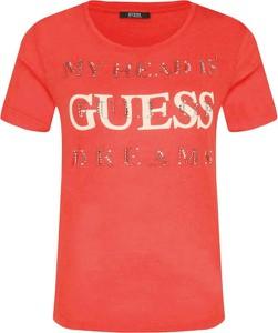 Czerwony t-shirt Guess Jeans z krótkim rękawem