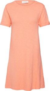 Pomarańczowa sukienka American Vintage z krótkim rękawem z okrągłym dekoltem