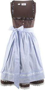 Niebieska sukienka bonprix bpc bonprix collection z dekoltem w karo