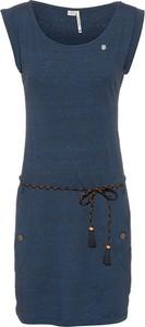 Granatowa sukienka Ragwear w stylu casual z okrągłym dekoltem bez rękawów