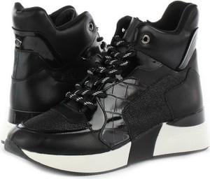 Czarne buty sportowe La Strada sznurowane