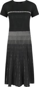 Czarna sukienka Pinko z krótkim rękawem z okrągłym dekoltem midi