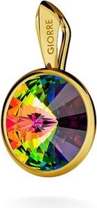 GIORRE SREBRNY WISIOREK SWAROVSKI RIVOLI 925 : Kolor kryształu SWAROVSKI - Crystal VM, Kolor pokrycia srebra - Pokrycie Żółtym 24K Złotem