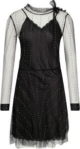 Czarna sukienka Silvian Heach z okrągłym dekoltem trapezowa