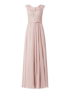 Różowa sukienka Luxuar bez rękawów z szyfonu maxi