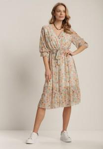 Miętowa sukienka Renee midi z długim rękawem