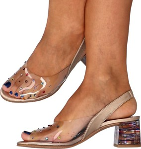 Sandały Brenda Zaro na obcasie ze skóry na średnim obcasie