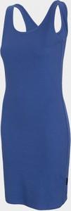 Niebieska sukienka Outhorn mini z okrągłym dekoltem z bawełny