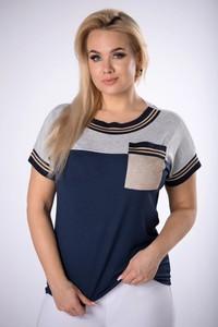T-shirt Ptak Moda z krótkim rękawem w stylu casual z okrągłym dekoltem