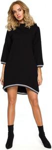 Czarna sukienka MOE w stylu casual z długim rękawem