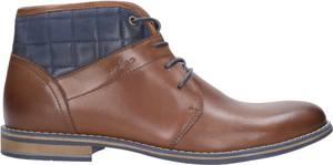 Brązowe buty zimowe Wojas ze skóry w stylu casual