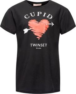 T-shirt Twinset z krótkim rękawem w młodzieżowym stylu