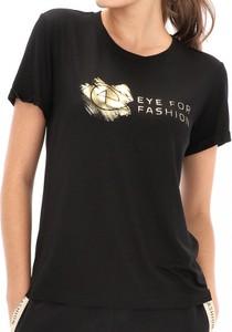 Czarny t-shirt Eye For Fashion w młodzieżowym stylu z tkaniny