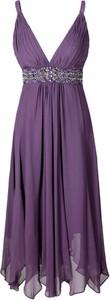 Fioletowa sukienka Fokus w stylu glamour z szyfonu