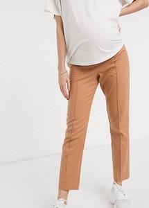 Brązowe spodnie Asos w stylu klasycznym z lnu