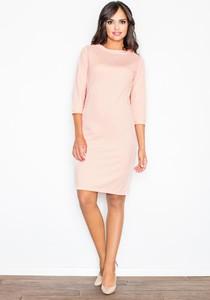 Różowa sukienka Figl z długim rękawem dopasowana midi