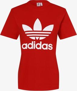 Czerwony t-shirt Adidas Originals z okrągłym dekoltem