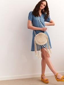 Niebieska sukienka Top Secret mini z tkaniny w stylu casual