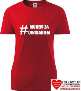 Czerwony t-shirt TopKoszulki.pl z bawełny z okrągłym dekoltem z krótkim rękawem