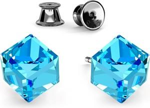 GIORRE SREBRNE KOLCZYKI KOSTKI SWAROVSKI 925 : Kolor kryształu SWAROVSKI - Aquamarine, Kolor pokrycia srebra - Pokrycie Czarnym Rodem
