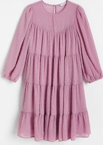 Różowa sukienka Reserved w stylu casual z długim rękawem mini