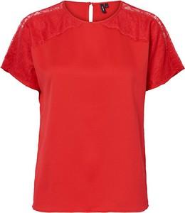 Czerwona bluzka Vero Moda w stylu casual
